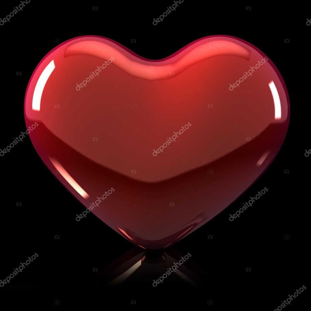 3d Shiny Heart Illustration on Black Background with reflection  Stock Photo #18783647