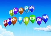 Colorful Happy Birthday Balloons on Blue Sky Illustration — Stock Photo