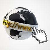 Internet Concept Illustration - Globe Coverered by Domain Bar La — Stock Photo