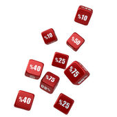 Discount -Sale Dice Falling Down, isolated on white background — Stock Photo