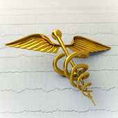 Golden Caduceus on Ecg - Ekg Paper - Medical Concept Illustratio — Stock Photo