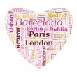 Love Shaped European Cities Vector Word Cloud on white backgroun — Stock Vector #23012420