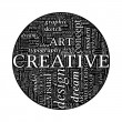 Creative Design Concept - Black and White Word Cloud in Circle - Stock Vector