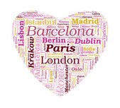 Love Shaped European Cities Vector Word Cloud on white backgroun — Stock Vector