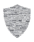 Hacker Shield Vector Word Cloud - Internet Security Concept — Stock Vector