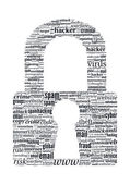Hacker Concept - Locker Shaped Typographic Vector Word Cloud — Cтоковый вектор