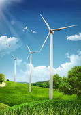 Wind Turbines on green fields and shiny blue skies - Green Ener — Fotografia Stock