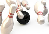 Bowling Pins and Ball - Strike Illustration — Stock Photo