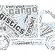 Van Shaped Word Cloud - Logistics, Cargo Concept — Stok Vektör