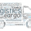 Logistics and Transport Concept in word cloud — Stok Vektör