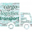 Van Shaped Transport and Logistics Concept in Word Cloud — Stok Vektör