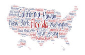 United States of America word cloud — Stok Vektör