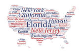 United States of America word cloud — Vettoriale Stock