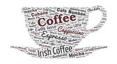 Coffee Shaped Word Cloud — Stock Vector