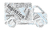 Van Shaped Word Cloud - Logistics, Cargo Concept — Stockvector