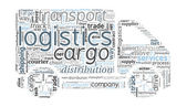 Logistics and Transport Concept in word cloud — Stock Vector