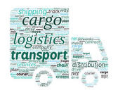 Van Shaped Transport and Logistics Concept in Word Cloud — Stock Vector