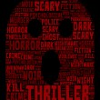 Постер, плакат: Thriller Concept Word Cloud Skull Shaped