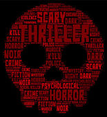 Thriller Concept Word Cloud - Skull Shaped — Stock Vector