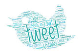 Twitter and Social Media Concept - Word Cloud — Stock Vector