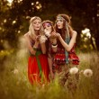 Girl of hippie in the field — Stock Photo #13655868