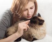 Beautiful girl gently hugs kitten — Stock Photo