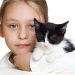 Girl and kitten — Stock Photo #37834323