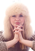 Teen girl in furry hat — Stock Photo