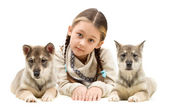 Child and puppies — Stock Photo