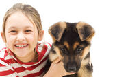 Girl and pet — Stock Photo