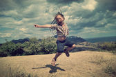 Little girl jumping  — Stock Photo