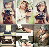 Set of retro style — Stock Photo