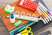 Set for school hours on a wooden table  — Stock Photo