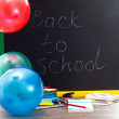 Back to school - inscription on blackboard — Stock Photo #49700953