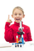 Young scientist showing the index finger  — Stock Photo