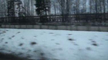 Winter-landstraße — Stockvideo