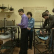 Stock Video: Students develop model of ship