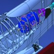Stock Video: Colorful jet engine cross section cutaway detail