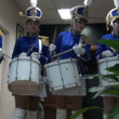 Girls in costume rehearsing hussar drumming — Stock Video