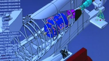 Colorful jet engine cross section cutaway detail — Stock Video