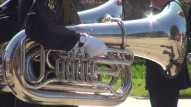 Military band. trombone — Stock Video