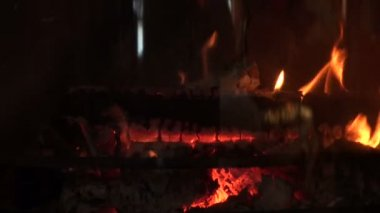 Burning fireplace — Stock Video