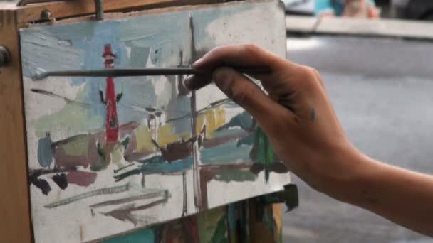Lona, pincel, dibujo — Vídeo de stock