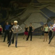Stock Video: Teacher of ballroom dance, rehearsal.