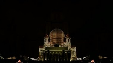 Laser show on the building of the Moscow university. — Stok video