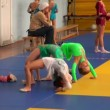 Stock Video: Rhythmic gymnastics training