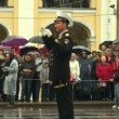 Stock Video: Conductor of military orchestra