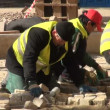 Workers are pavings street — Stock Video