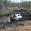 T-34 tank taken out of the swamp - Stock Photo