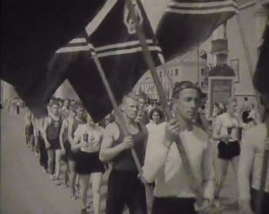 Newsreel, a chronicle of the USSR. Demonstration and parade — Stock Video